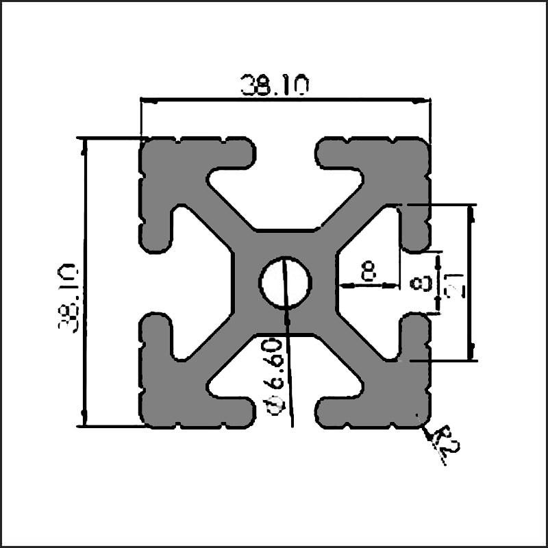 Aluminum t-slot 8 38.1 38.1 CAD