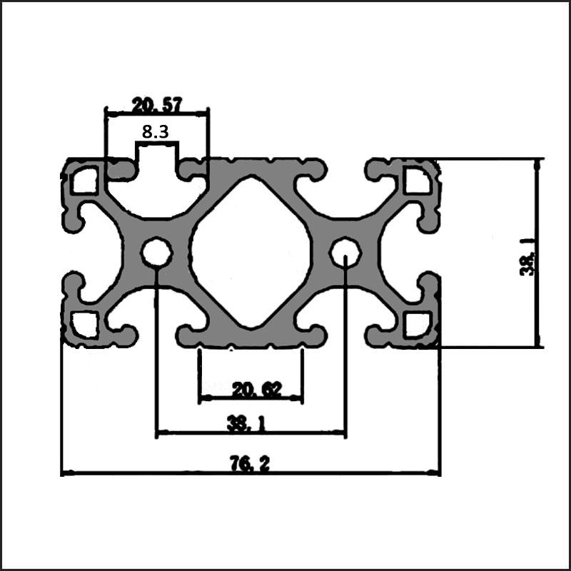 Aluminum t-slot 8 38.1 76.2 CAD