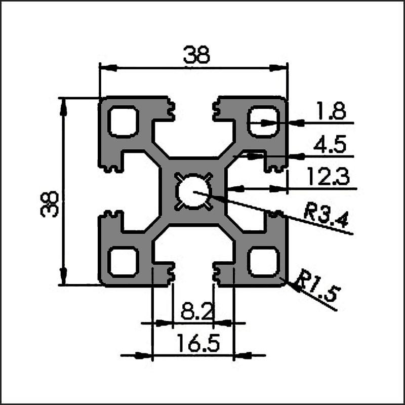 Aluminum t-slot 8 3838 CAD