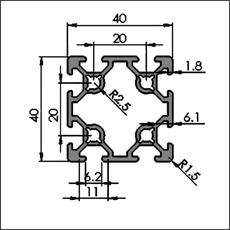 Aluminum t-slot 6-4040G CAD