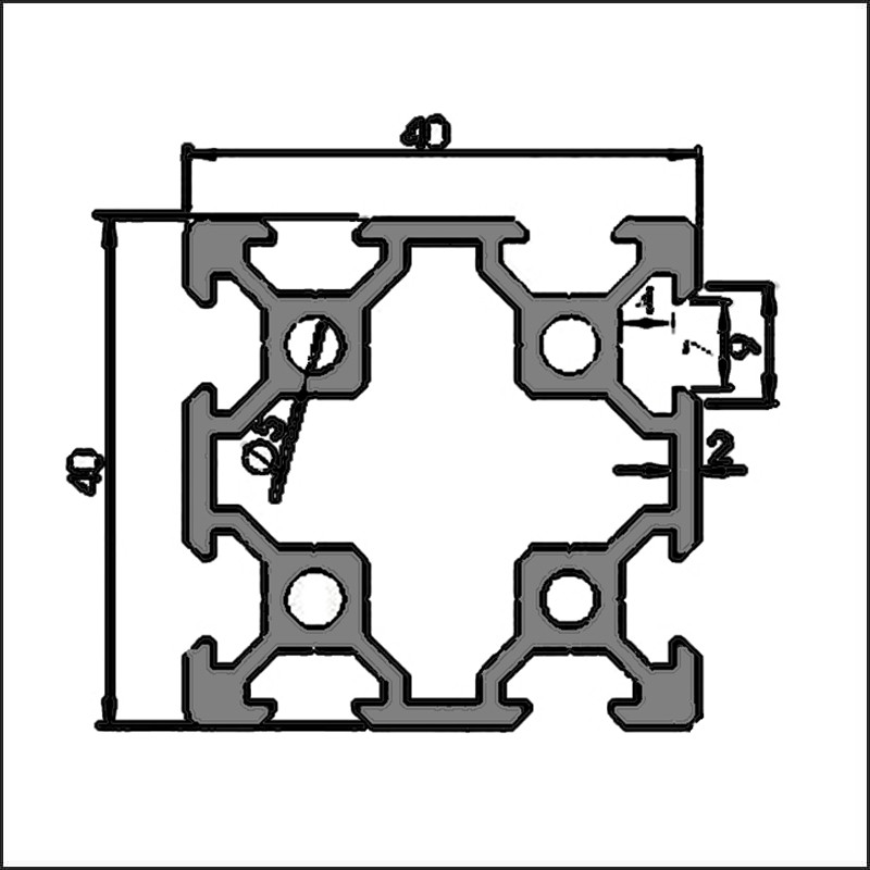 Aluminum t-slot 6-4040GA CAD