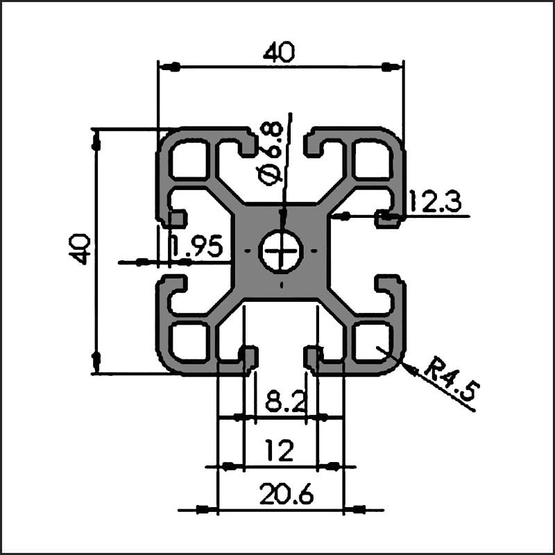 Aluminum t-slot 8-4040B CAD