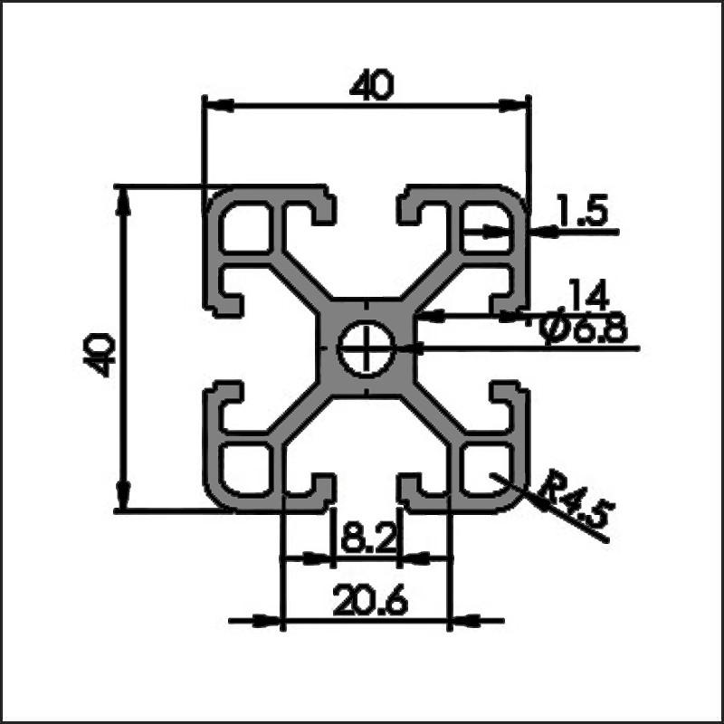Aluminum t-slot 8-4040C CAD