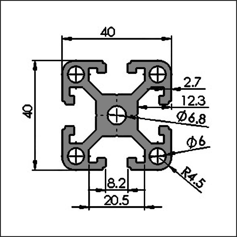 Aluminum t-slot 8-4040D CAD