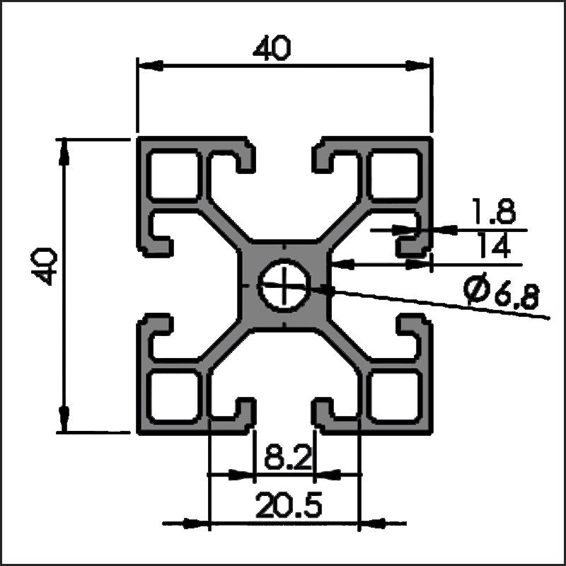 Aluminum t-slot 8-4040L CAD