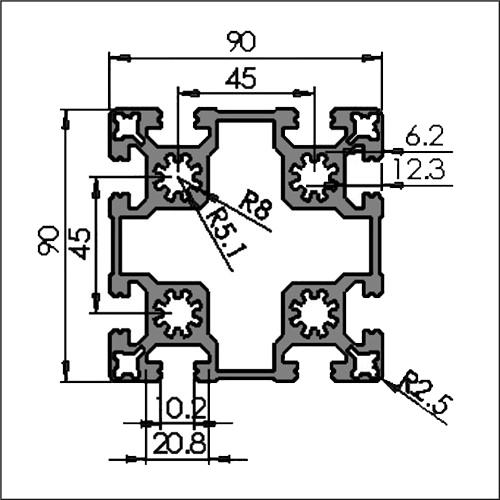 Aluminum-t-slot-10-9090W-CAD