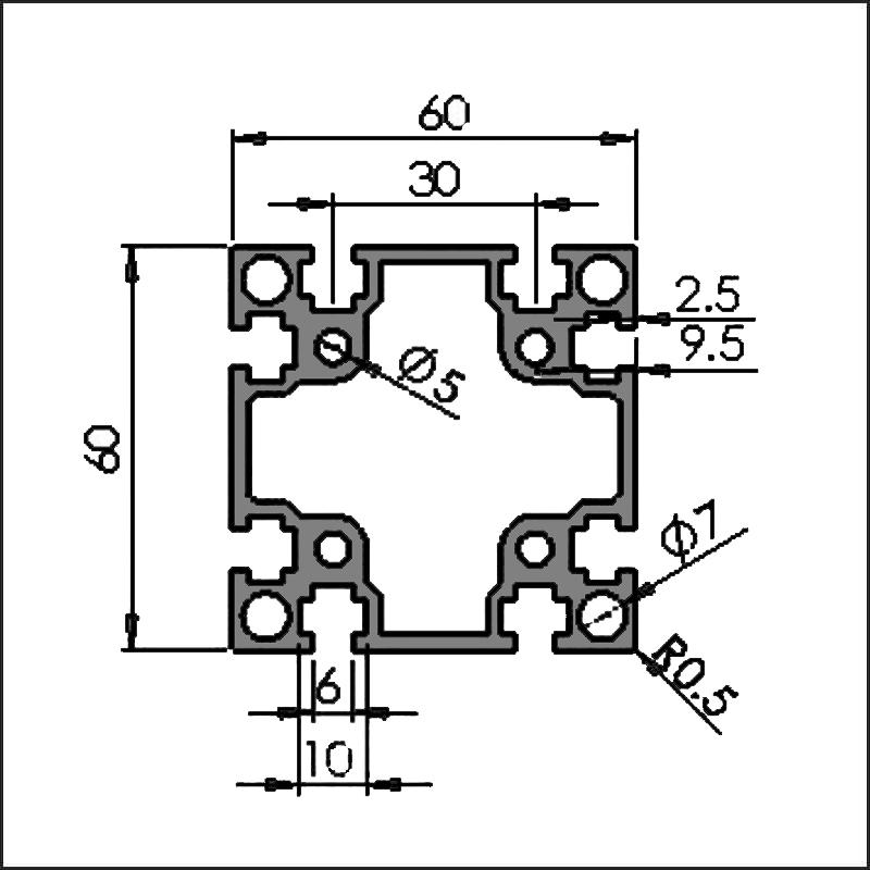 Aluminum-t-slot-6-6060G-CAD