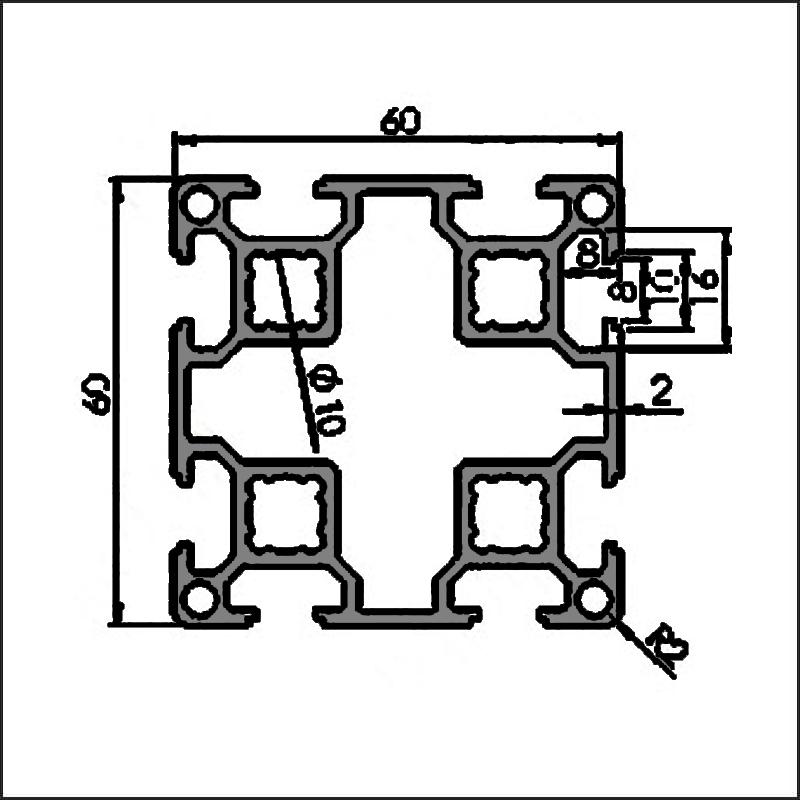 Aluminum-t-slot-8-6060L-CAD